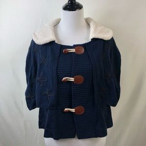 Anthropologie Moth navy cape sweater size large